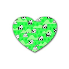 Animals Cow Home Sweet Tree Green Rubber Coaster (heart)  by Alisyart