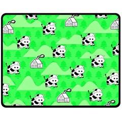Animals Cow Home Sweet Tree Green Double Sided Fleece Blanket (medium)  by Alisyart