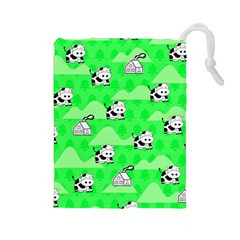 Animals Cow Home Sweet Tree Green Drawstring Pouches (large)  by Alisyart