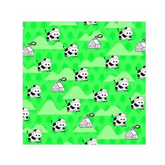 Animals Cow Home Sweet Tree Green Small Satin Scarf (square) by Alisyart