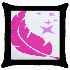 Bird Feathers Star Pink Throw Pillow Case (black) by Alisyart