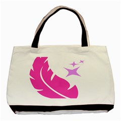 Bird Feathers Star Pink Basic Tote Bag by Alisyart