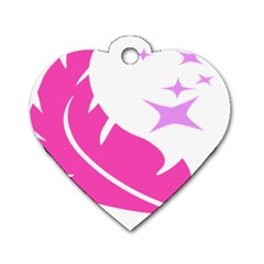 Bird Feathers Star Pink Dog Tag Heart (one Side) by Alisyart