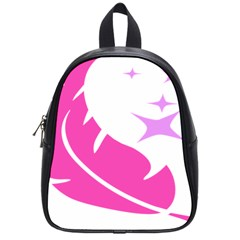 Bird Feathers Star Pink School Bags (small)  by Alisyart