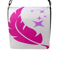 Bird Feathers Star Pink Flap Messenger Bag (l)  by Alisyart