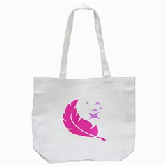 Bird Feathers Star Pink Tote Bag (white) by Alisyart