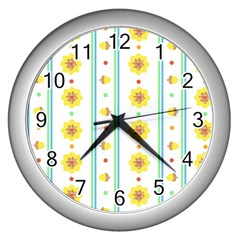 Beans Flower Floral Yellow Wall Clocks (silver)  by Alisyart