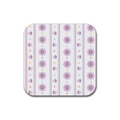 Beans Flower Floral Purple Rubber Coaster (square)  by Alisyart
