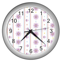 Beans Flower Floral Purple Wall Clocks (silver)  by Alisyart