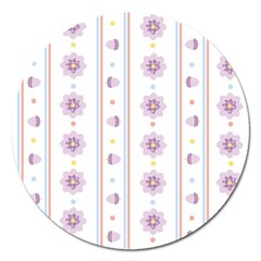 Beans Flower Floral Purple Magnet 5  (round) by Alisyart