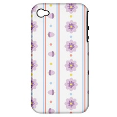 Beans Flower Floral Purple Apple Iphone 4/4s Hardshell Case (pc+silicone) by Alisyart