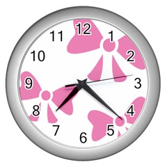Bow Ties Pink Wall Clocks (silver)  by Alisyart
