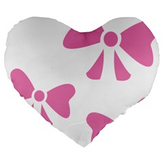 Bow Ties Pink Large 19  Premium Flano Heart Shape Cushions by Alisyart