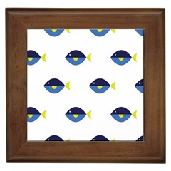Blue Fish Swim Yellow Sea Beach Framed Tiles by Alisyart