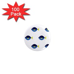 Blue Fish Swim Yellow Sea Beach 1  Mini Magnets (100 Pack)  by Alisyart