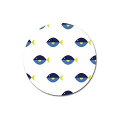 Blue Fish Swim Yellow Sea Beach Magnet 3  (round) by Alisyart