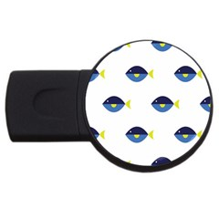 Blue Fish Swim Yellow Sea Beach Usb Flash Drive Round (2 Gb) by Alisyart
