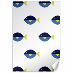 Blue Fish Swim Yellow Sea Beach Canvas 24  X 36  by Alisyart