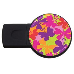 Butterfly Animals Rainbow Color Purple Pink Green Yellow Usb Flash Drive Round (2 Gb) by Alisyart
