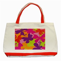 Butterfly Animals Rainbow Color Purple Pink Green Yellow Classic Tote Bag (red) by Alisyart