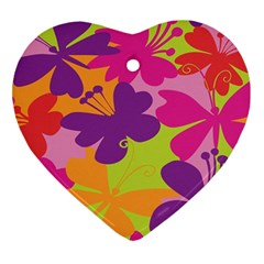 Butterfly Animals Rainbow Color Purple Pink Green Yellow Heart Ornament (two Sides) by Alisyart