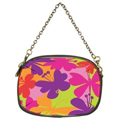 Butterfly Animals Rainbow Color Purple Pink Green Yellow Chain Purses (two Sides)  by Alisyart