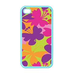 Butterfly Animals Rainbow Color Purple Pink Green Yellow Apple Iphone 4 Case (color) by Alisyart