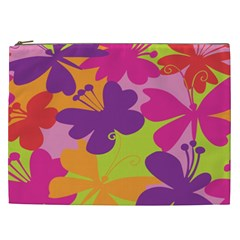 Butterfly Animals Rainbow Color Purple Pink Green Yellow Cosmetic Bag (xxl)  by Alisyart