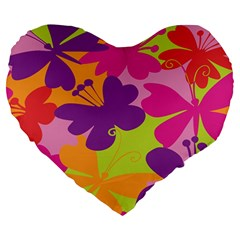 Butterfly Animals Rainbow Color Purple Pink Green Yellow Large 19  Premium Heart Shape Cushions by Alisyart