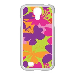 Butterfly Animals Rainbow Color Purple Pink Green Yellow Samsung Galaxy S4 I9500/ I9505 Case (white) by Alisyart