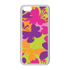 Butterfly Animals Rainbow Color Purple Pink Green Yellow Apple Iphone 5c Seamless Case (white) by Alisyart