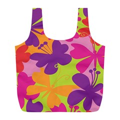 Butterfly Animals Rainbow Color Purple Pink Green Yellow Full Print Recycle Bags (l)  by Alisyart