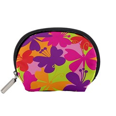Butterfly Animals Rainbow Color Purple Pink Green Yellow Accessory Pouches (small)  by Alisyart
