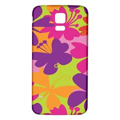 Butterfly Animals Rainbow Color Purple Pink Green Yellow Samsung Galaxy S5 Back Case (white) by Alisyart