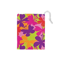 Butterfly Animals Rainbow Color Purple Pink Green Yellow Drawstring Pouches (small)  by Alisyart