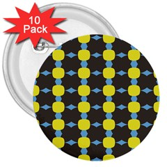Blue Black Yellow Plaid Star Wave Chevron 3  Buttons (10 Pack)  by Alisyart