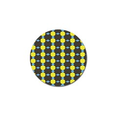 Blue Black Yellow Plaid Star Wave Chevron Golf Ball Marker by Alisyart