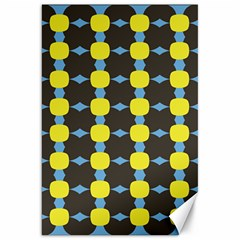 Blue Black Yellow Plaid Star Wave Chevron Canvas 20  X 30   by Alisyart
