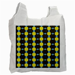 Blue Black Yellow Plaid Star Wave Chevron Recycle Bag (two Side)  by Alisyart