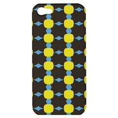 Blue Black Yellow Plaid Star Wave Chevron Apple Iphone 5 Hardshell Case by Alisyart