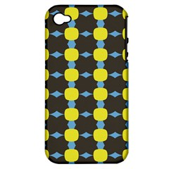 Blue Black Yellow Plaid Star Wave Chevron Apple Iphone 4/4s Hardshell Case (pc+silicone) by Alisyart