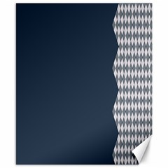Argyle Triangle Plaid Blue Grey Canvas 8  X 10  by Alisyart