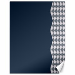 Argyle Triangle Plaid Blue Grey Canvas 18  X 24   by Alisyart
