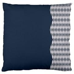 Argyle Triangle Plaid Blue Grey Large Cushion Case (one Side) by Alisyart