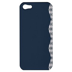 Argyle Triangle Plaid Blue Grey Apple Iphone 5 Hardshell Case by Alisyart