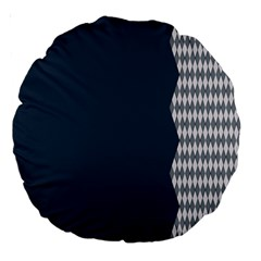 Argyle Triangle Plaid Blue Grey Large 18  Premium Round Cushions by Alisyart