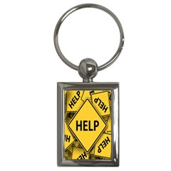 Caution Road Sign Help Cross Yellow Key Chains (rectangle)  by Alisyart