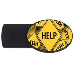 Caution Road Sign Help Cross Yellow Usb Flash Drive Oval (4 Gb) by Alisyart