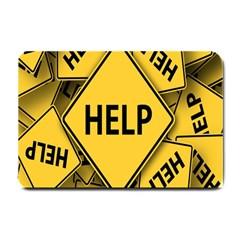 Caution Road Sign Help Cross Yellow Small Doormat  by Alisyart