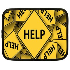Caution Road Sign Help Cross Yellow Netbook Case (xl)  by Alisyart